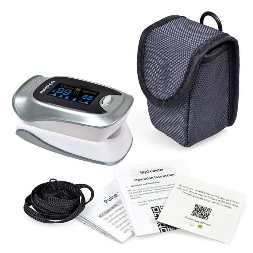 Bluetooth Finger Pulse Oximeter With Phone Application - Gray