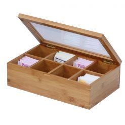 8 Grid Slot Bamboo Watch Display Box Case- Brown