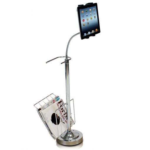 Bathroom Tablet Stand With Toilet Holder and Magazine Rack - Silver