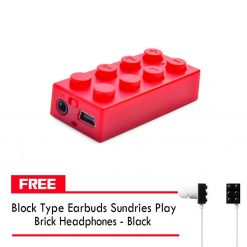 Block MP3 Player - Red FREE Block Type Earbuds Sundries Play Brick Headphones - Black
