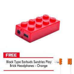 Block MP3 Player - Red FREE Block Type Earbuds Sundries Play Brick Headphones - Orange