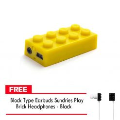 Block MP3 Player - Yellow FREE Block Type Earbuds Sundries Play Brick Headphones - Black