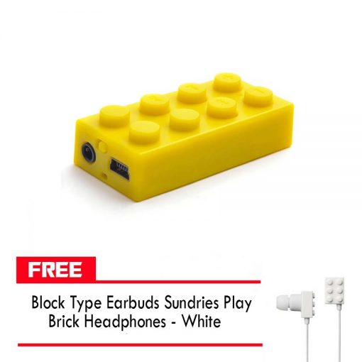 Block MP3 Player - Yellow FREE Block Type Earbuds Sundries Play Brick Headphones - White