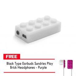 Block MP3 Player - White FREE Block Type Earbuds Sundries Play Brick Headphones - Purple