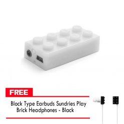 Block MP3 Player - White FREE Block Type Earbuds Sundries Play Brick Headphones - Black