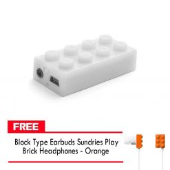 Block MP3 Player - White FREE Block Type Earbuds Sundries Play Brick Headphones - Orange