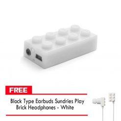 Block MP3 Player - White FREE Block Type Earbuds Sundries Play Brick Headphones - White