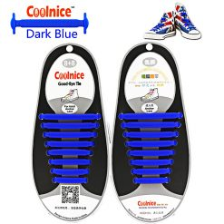 No Tie Silicone Shoelaces Size For Adult - Dark Blue
