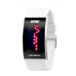 30M Waterproof Red Light LED Watch - White