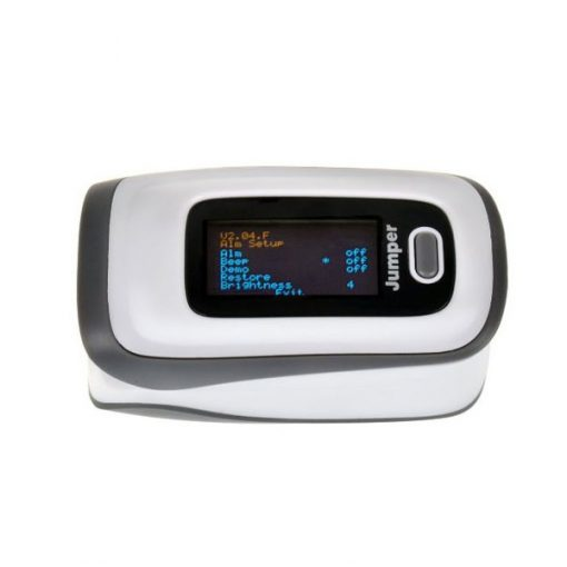 Bluetooth Finger Pulse Oximeter With Phone Application - White Gray