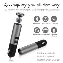Q9 Bluetooth Headset with Car Charger And 2 Charging USB Port - Silver