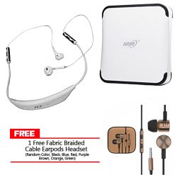 Bluetooth NFC Wireless Headphone and Hame 10000 mAh 2 USB Port Power Bank with Free Fabric Braided Cable Earpods Headset - White