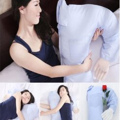 Boyfriend Pillow with Plain Long Sleeve - Sky Blue