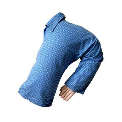 Boyfriend Pillow with Checkerd Long Sleeve - Blue
