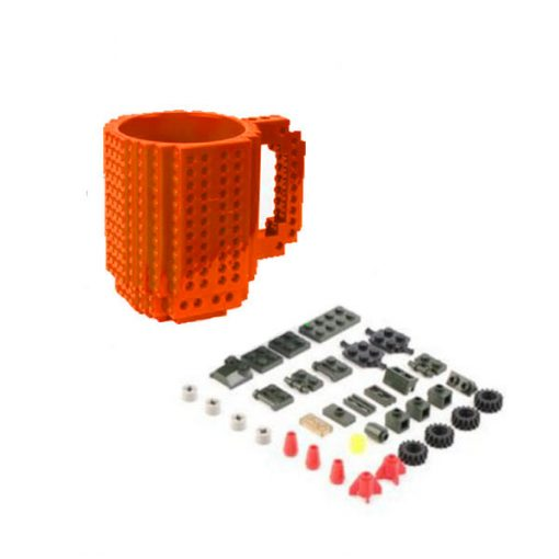 Build-On Brick Mug Style Puzzle Cup - Orange
