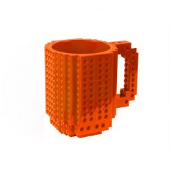 Build-On Brick Mug Style Puzzle Cup - Orange