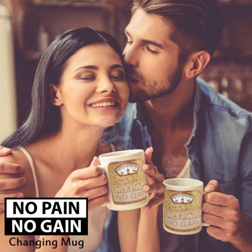 NO PAIN NO GAIN Heat Sensitive Color Changing Mug - White