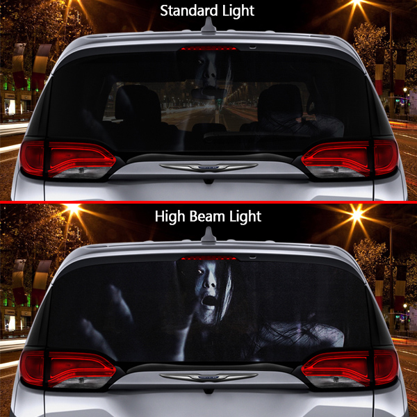High Beam Scary Reflective Decals For Rear Window DT17 - Black