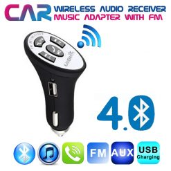 Car Wireless Bluetooth Audio Receiver Adapter with FM Music - Black