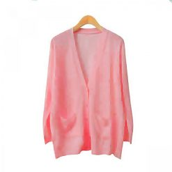 Cardigans Thin Knitted V-Neck Long Sleeve  - Pink