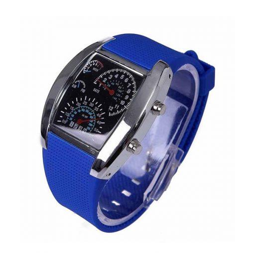 Casual Water Resistant LED Metal Speedometer Watch - Blue