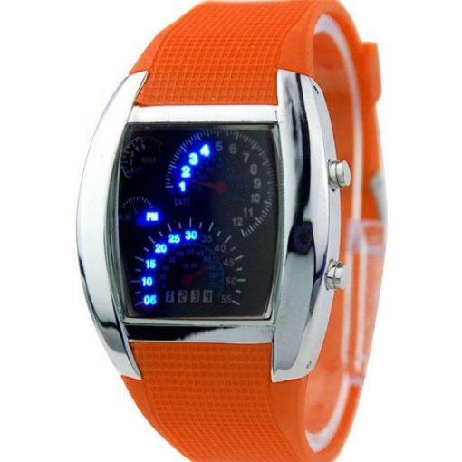 Casual Water Resistant LED Metal Speedometer Watch - Orange