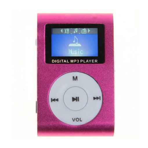 Clip MP3 Player with LCD and 2G Micro SD Card - Pink