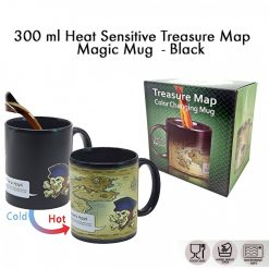 300 ml Heat Sensitive Treasure Map Magic Mug  - Black