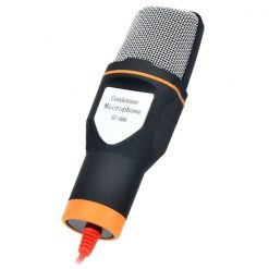 Condenser Microphone With Microphone Stand And Clip- Black/Orange