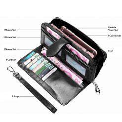 Crete Multifunction Mobile Phone Leather Wallet - Black