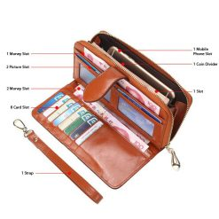 Crete Multifunction Mobile Phone Leather Wallet Purse - Orange
