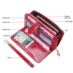 Crete Multifunction Mobile Phone Leather Wallet - Red