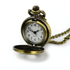 Cupid Design Vintage Pocket Watch with Necklace - Bronze