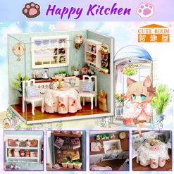 Cute Room Happy Kitchen Dollhouse Happiness Series 15.1*11.6*13.1CM