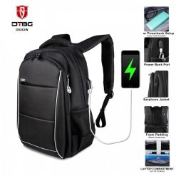 DTBG 8263W Water Resistant Office Backpack With USB Charging Port & 15 inch Laptop Compartment - Black