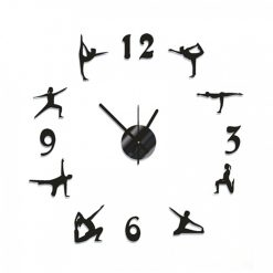 DIY Wall Sticker Clock Yoga Exercise Design - Black