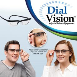 Dial Vision Manual Adjustable Lens Magnification Prescription Eyeglasses - Black