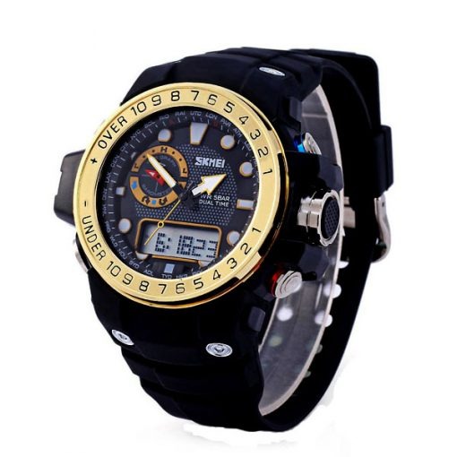 50M Waterproof Dual Model Watch With Compass - Gold