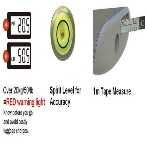 Digital Luggage Scale with Tape Measure and Spirit Level