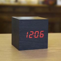Digital Cube Wooden Clock with Temperature Display - Black