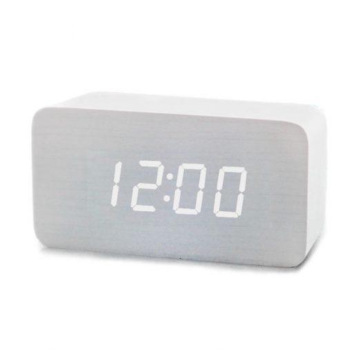 Digital Rectangular Wooden Alarm Clock White Led Light - White