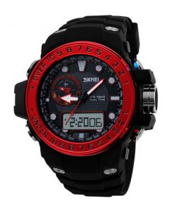 50M Waterproof Dual Model Watch With Compass - Red