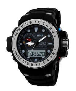50M Waterproof Dual Model Watch With Compass - Silver