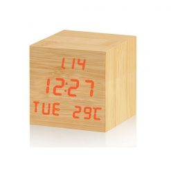 Digital Cube Wooden Alarm Clock with Temperature Display