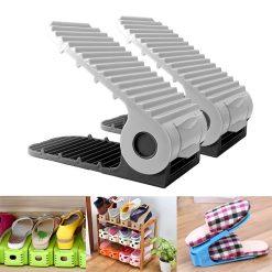 2 Pieces Adjustable Double Deck Shoe Rack Organizer 21 cm - Black