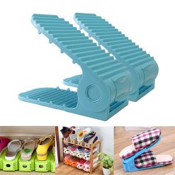 2 Pieces Adjustable Double Deck Shoe Rack Organizer 21 cm - Blue