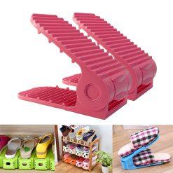 2 Pieces Adjustable Double Deck Shoe Rack Organizer 21 cm - Pink
