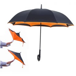 Double Layers Inverted Upside Down Umbrella - Orange