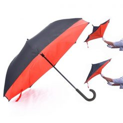 Double Layers Inverted Upside Down Umbrella - Red