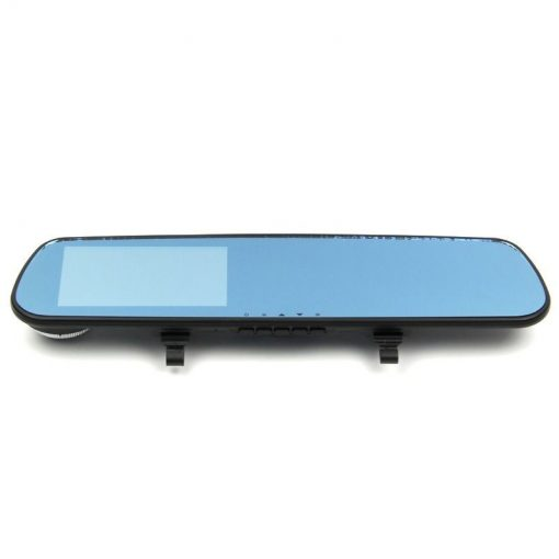 4.3 Inches High Definition LCD Car Blue Rear View Mirror DVR - Black